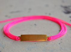 Neon Pink Wrap Bracelet with Vintage Brass ID Tag  by mercimarket