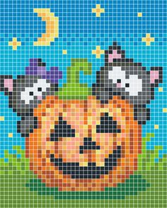 Halloween pumpkin and cats cross stitch.