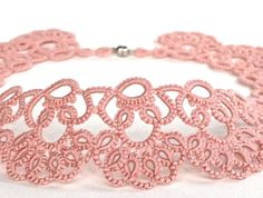 Rose rosa tatted Halskette  Collier  tatted jewellery
