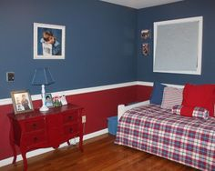 Awesome Grey Red Wood Modern Design Boys Bedroom Kids Blue Themed ...