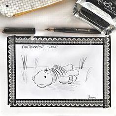 Day 7 #inktober2016 *lost* .  #lost #teddy #inking #drawing #drawingoftheday #drawingchallenge #collect #drawinginspiration #tinte #pentelpocketbrush #brushpen #washitape @inktober #waterman #flexnib #fountainpen #edelsteininkcollection #pelikan