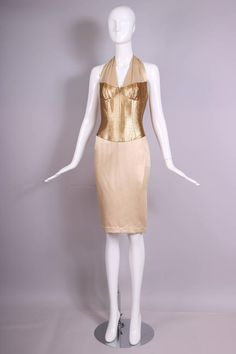 Thierry Mugler Silk Halter Dress W/Gold Bodice & Creme Colored Faux-Wrap Skirt 1990