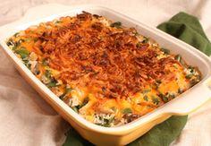 chicken, rice, and green bean casserole