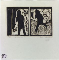Bea Maddock | Encounter, 1966 | ink; paper woodcut, printed in black ink by hand burnishing, from two abutted pine blocks, 5/10 | NGA