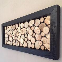 Wooden design board with black frame - New Deko Sites Cadre Design, Tableau Design, Design Table, Wood Slice Crafts, Wood Crafts, Diy And Crafts, Deco Nature, Diy Décoration, Wood Creations