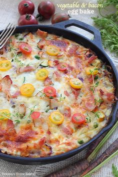 Whether you're serving 2 people or a crowd, it can't get easier than this make-ahead vegetable and bacon egg bake skillet! 15 minutes of prep time tops!