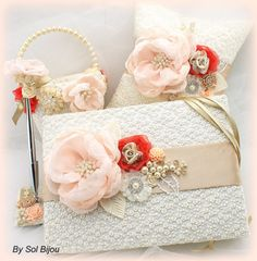 Flower Girl Basket Pillow and Guestbook Set in Ivory por SolBijou, $295.00