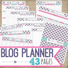 This is the ultimate blog organizer! This listing features 43 pages to keep track of everything involved in running a successful blog. The documents included: Cover page Annual Blog Goals Daily Blog Tasks checklist 4 Weekly Blog Task checklist pages Monthly Blog Tasks checklist Post Ideas by Category Post Planner Series Planner 12 Dated Monthly checklists Link Party List Monthly Blog Statistics Contacts Password Log Giveaway Tracker Sponsor Tracker Income & Expenses worksheet 12 Monthly...
