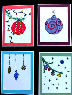 Christmas ornament cards Christmas cards by MitchiesGalleria