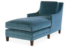 Salon Chaise, Harbor Blue Velvet