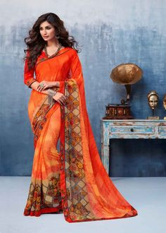 Lovely collection of saree available at best price. Buy this faux georgette multi colour printed saree. Saree Sale, Orange Saree, Trendy Sarees, Latest Designer Sarees, Casual Saree, Embroidered Clothes, Traditional Sarees, Indian Ethnic Wear, Georgette Sarees