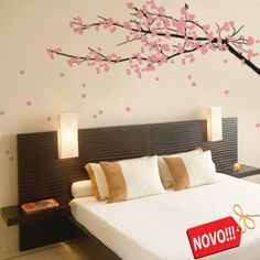 Cherry tree on the wall Japanese Bedroom, Stencil Decor, Bedroom Decor, Wall Decor, Pink Houses, Home Remodeling, Decoration, Sweet Home, New Homes