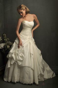 Ruffles Appliqued Ball Gown Champagne Pleats Wedding Dress
