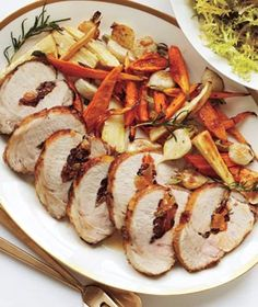 Stuffed Pork Loin With Roasted Root Vegetables - I'm a fan of stuffed meats :)