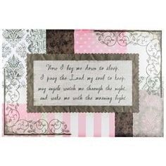 Rest your head in peaceful slumber with this beautiful and simple canvas art adorning your walls. Perfect for coordinating with any little girl's pink decor,Now I Lay Me Down to Sleep Canvas Art features pink, gray, and white patterns and text.    Patterns include polka dots, sheet music, damask, and stripes