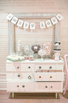So this is what I'm thinking for the candy table. I stole this pic from Hey Gorgeous, and it's the author's candy ta. Lolly Buffet, Dessert Buffet, Wedding Candy, Wedding Desserts, Candy Table, Candy Buffet, Sweet Buffet, Sweet Tables, Sweet Bar