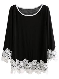 Floerns Women's Lace Applique Raglan Sleeve Loose T Shirt Top Black M -- Awesome products selected by Anna Churchill Stylish Dresses For Girls, Trendy Outfits, Fashion Outfits, Floral Plus Size Dresses, Iranian Women Fashion, Kurti Designs Party Wear, Ethnic Dress, African Wear, Western Outfits