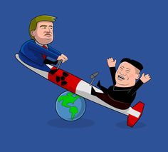 """This is what happen when who rules is a little bit childish! It's something like """"I've the biggest gun"""" between Donald Trump and Kim Jong Un. This is a satirical representation of the actual situation between North Corea and USA; let's remember that War (especially nuclear war) is a thing humanity should avoid at all costs! #childish #children #donaldtrump #jongun #kimjongun #missile #nuclear #nuke #trump #war #world http://www.shamancake.com/projects/ruled-by-children/"""