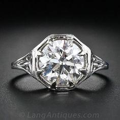 2.21 Carat Art Deco Filigree Diamond Engagement Ring