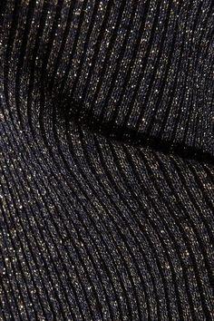 Diane von Furstenberg - Tess Metallic Merino Wool-blend Turtleneck Sweater - Midnight blue - x small