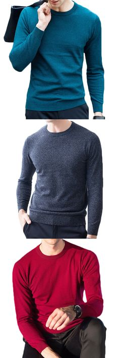 yanyuanlong 100% Woolen Knitted Casual Sweater Fall Winter Solid Color Pullover Tops for Men