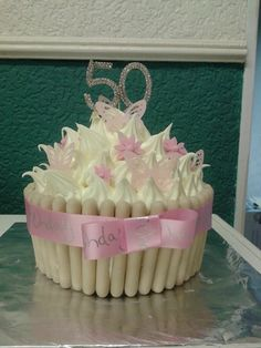 Giant cupcake 50th birthday cake.