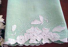 Vintage Linen Guest Towel Mint Green White by LaPetiteVintageShop, $14.00