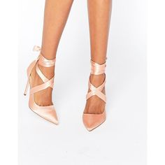ASOS PINO Satin Lace Up Pointed Heels ($67) ❤ liked on Polyvore featuring shoes, pumps, beige, beige pumps, high heel stilettos, asos shoes, pointy-toe pumps and pointed-toe pumps