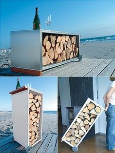Suitable for both outdoor and indoor use, The Firewood Trolley is a stylish, multifunctional storage for firewood that can be used as a bench, standing or coffee table. Designed by Michael Rösi...