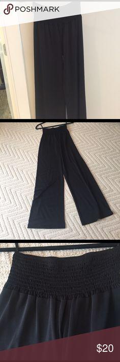 Silky elastic waist pant Poly spandex swingy pant joyce Pants Wide Leg