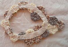 Crochet jewelry - Flower scarflette - crochet flower necklace , one of a kind - unique neutrals - cotton spring scarf.