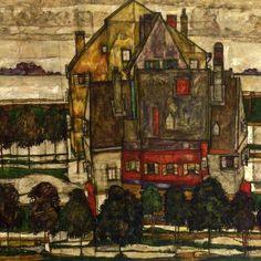 Egon Schiele ~ Einzelne Hauser - Hauser mit Bergen, 1915