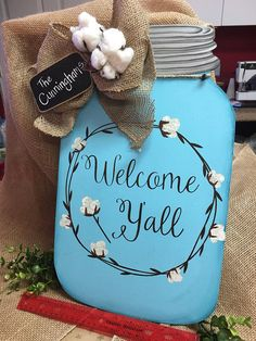 New Welcome Ya'll Mason Jar Door Hanger with cotton accents Personalized Letter Door Hangers, Wooden Door Hangers, Mason Jar Gifts, Mason Jar Diy, Jar Crafts, Wood Crafts, Wooden Projects, Tree Crafts, Vinyl Projects