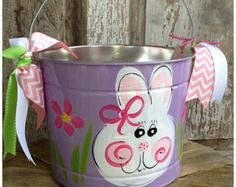 FREE SHIPPING Easter Bucket Personalized by ladeedahart on Etsy