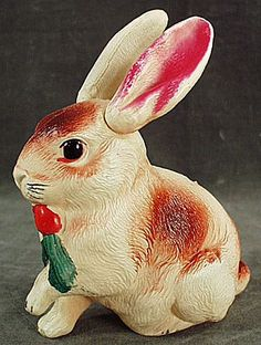 Vintage Celluloid Rattle - Easter Bunny with Jointed Ears
