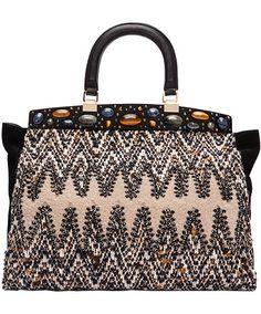 Tory Burch Shopping bag in tessuto fantasia con applicazioni di pietre colorate