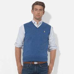 Polo Ralph Lauren   Pima Cotton V-Neck Vest #poloralphlauren #vest
