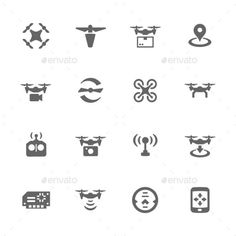 Simple Drone Icons — JPG Image #camera #drone • Available here → https://graphicriver.net/item/simple-drone-icons-/16011295?ref=pxcr