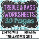 This is a downloadable PDF file of 28 worksheets (30 pages) to supplement learning in the treble and bass clefs, lines and spaces, and high vs. low...