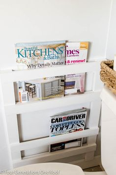 Bathroom DIY wall mounted magazine rack by @Mandy Bryant Bryant Dewey Generations One Roof
