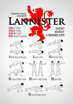 Infographic: Lannister Workout, from Neila Rey visual workouts Fitness Workouts, Hero Workouts, Gym Workout Tips, No Equipment Workout, At Home Workouts, Neila Rey Workout, Superhero Workout, Darebee, Fitness Design