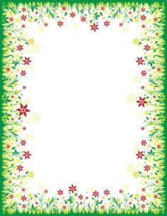 花のフレーム枠イラスト-赤・草むら