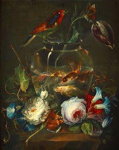 Giuseppe Giusti - Still Life with Goldfish and Flowers, 1883