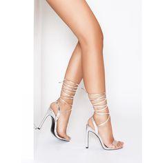 Ella Silver Metallic Clear Lace Up Heels : Simmi Shoes