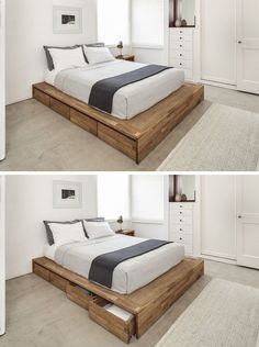9 Ideas For Under-The-Bed Storage // Eight large rolling drawers tucked right into this wood platform bed make it a convenient place for storing things you'd like to be able to reach right from bed, as well as things you'll only be using occasionally. Bed Frame With Drawers, Bed Frame With Storage, Diy Bed Frame, Under Bed Storage, Simple Wood Bed Frame, Best Storage Beds, Extra Storage, Platform Bed With Storage, Wood Platform Bed