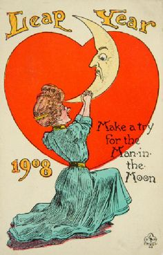 Leap Year Man in Moon postcard Vintage Ephemera, Vintage Postcards, Edwardian Era, Victorian, Leap Day, Vintage Moon, New Year Postcard, Moon Photography, Paper Moon