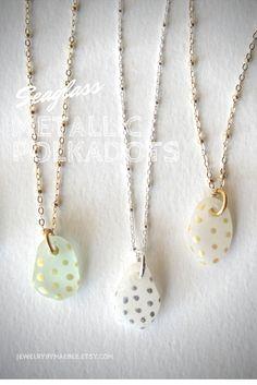 Metallic #polkadots on #beachglass! From JewelryByMaeBee on #Etsy. www.jewelrybymaebee.etsy.com