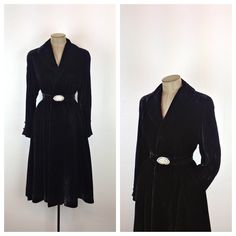50s Black Velvet Princess Coat / 1950s Belted Opera Coat / Fit and Flare Wrap Coat / 40s Formal Winter Swing Coat / Small / Medium on Etsy, Sold