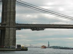 Beautiful Brooklyn Bridge as seen from the ferry to DUMBO.