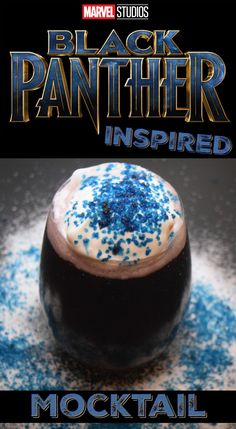 Marvel Black Panther Inspired Mocktail- The TipToe Fairy Are you loving the new Marvel Black Panther movie? Here's a tasty drink for your Black Panther party perfect for kids and adults – Black Panther Mocktail. via Stephanie Black Panther Party, Black Panther Marvel, Kid Drinks, Party Drinks, Yummy Drinks, Mocktail Drinks, Non Alcoholic Drinks, Halloween Alcoholic Drinks, Beverages